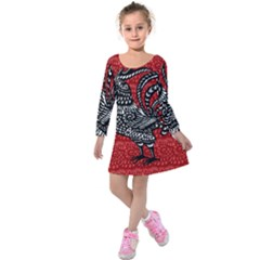 Year of the Rooster Kids  Long Sleeve Velvet Dress