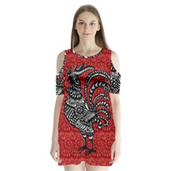 Year of the Rooster Shoulder Cutout Velvet  One Piece