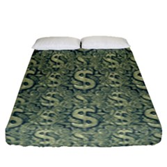 Money Symbol Ornament Fitted Sheet (Queen Size)
