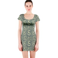 Money Symbol Ornament Short Sleeve Bodycon Dress