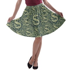 Money Symbol Ornament A Line Skater Skirt
