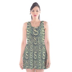 Money Symbol Ornament Scoop Neck Skater Dress