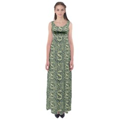 Money Symbol Ornament Empire Waist Maxi Dress