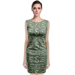 Money Symbol Ornament Classic Sleeveless Midi Dress