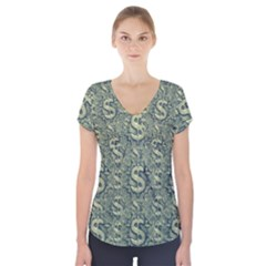 Money Symbol Ornament Short Sleeve Front Detail Top
