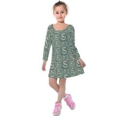 Money Symbol Ornament Kids  Long Sleeve Velvet Dress