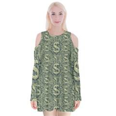 Money Symbol Ornament Velvet Long Sleeve Shoulder Cutout Dress