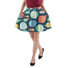 Cute small marine fish A-Line Pocket Skirt