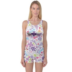 Colorful flower One Piece Boyleg Swimsuit