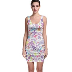 Colorful flower Sleeveless Bodycon Dress