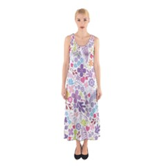 Colorful flower Sleeveless Maxi Dress