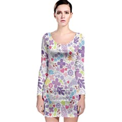 Colorful flower Long Sleeve Bodycon Dress