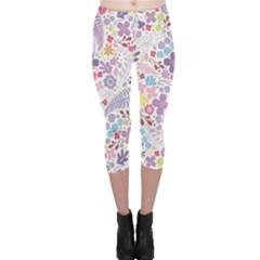 Colorful flower Capri Leggings