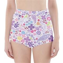 Colorful flower High-Waisted Bikini Bottoms