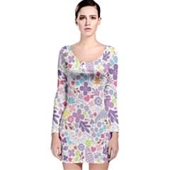 Colorful flower Long Sleeve Velvet Bodycon Dress