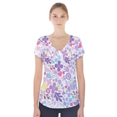 Colorful flower Short Sleeve Front Detail Top