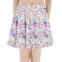 Colorful flower Pleated Mini Skirt
