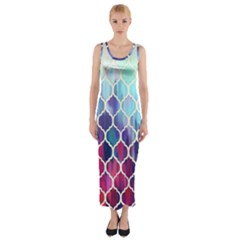 Purple moroccan mosaic Fitted Maxi Dress