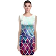 Purple moroccan mosaic Classic Sleeveless Midi Dress