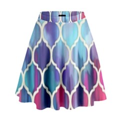 Purple moroccan mosaic High Waist Skirt