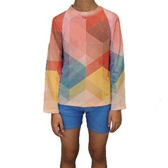 Colorful warm colored quares Kids  Long Sleeve Swimwear