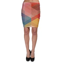Colorful warm colored quares Bodycon Skirt