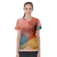 Colorful warm colored quares Women s Sport Mesh Tee
