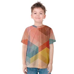 Colorful warm colored quares Kids  Cotton Tee