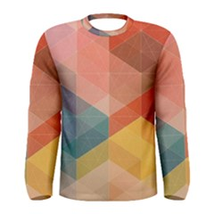 Colorful warm colored quares Men s Long Sleeve Tee