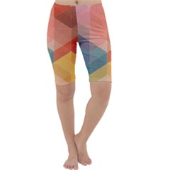 Colorful warm colored quares Cropped Leggings