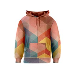 Colorful warm colored quares Kids  Zipper Hoodie