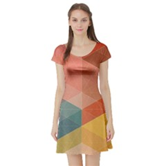 Colorful warm colored quares Short Sleeve Skater Dress