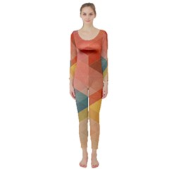 Colorful warm colored quares Long Sleeve Catsuit
