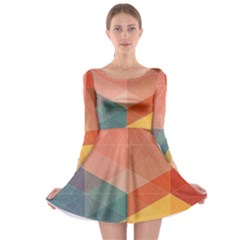 Colorful warm colored quares Long Sleeve Skater Dress