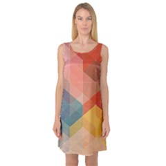 Colorful warm colored quares Sleeveless Satin Nightdress