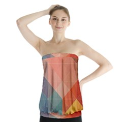 Colorful warm colored quares Strapless Top
