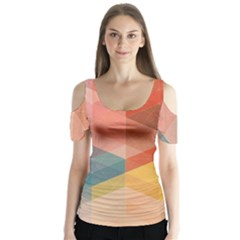 Colorful warm colored quares Butterfly Sleeve Cutout Tee