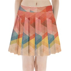 Colorful warm colored quares Pleated Mini Skirt