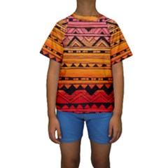 warm tribal Kids  Short Sleeve Swimwear
