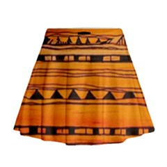 warm tribal Mini Flare Skirt