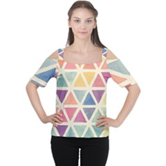 Colorful triangle Women s Cutout Shoulder Tee