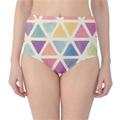 Colorful triangle High-Waist Bikini Bottoms