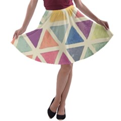Colorful triangle A-line Skater Skirt