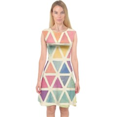 Colorful triangle Capsleeve Midi Dress
