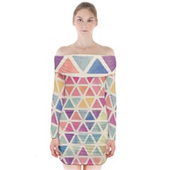 Colorful triangle Long Sleeve Off Shoulder Dress