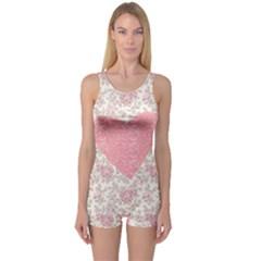 Cute pink heart One Piece Boyleg Swimsuit