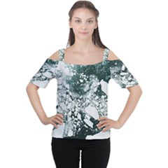Black and white  Women s Cutout Shoulder Tee