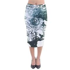 Black And White  Velvet Midi Pencil Skirt