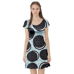 Cute oreo Short Sleeve Skater Dress