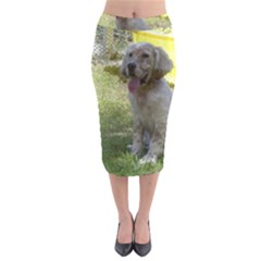 English Setter Orange Belton Puppy Midi Pencil Skirt
